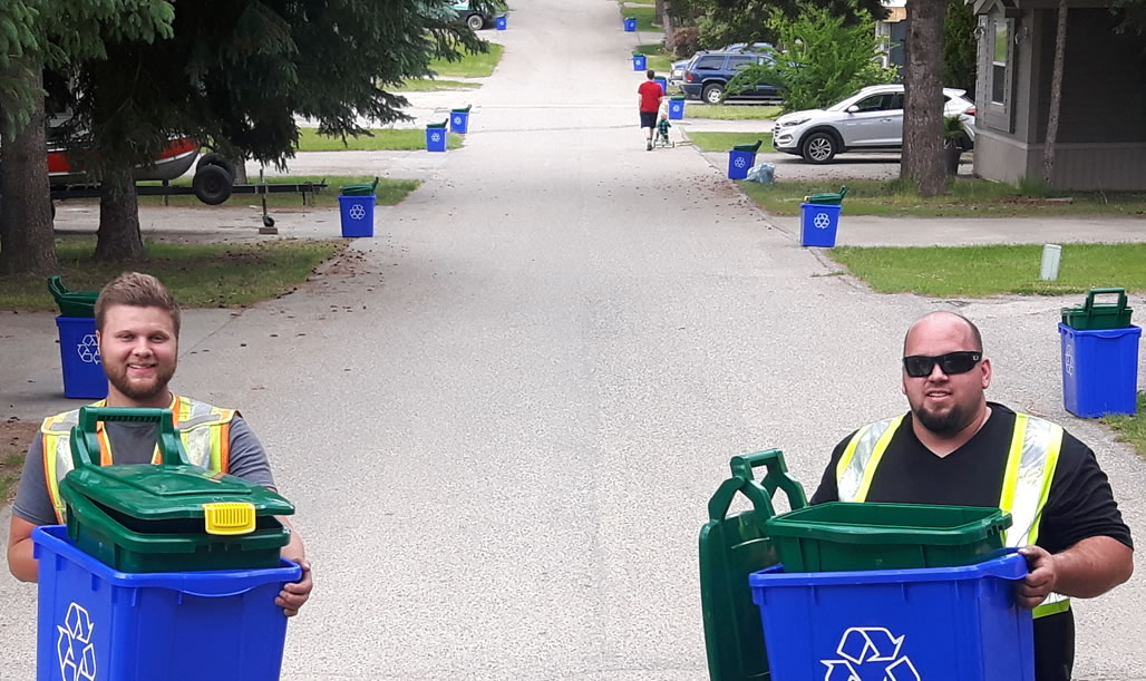 Dropping off bins in Salmon Arm